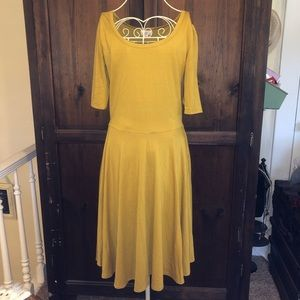LuLaRoe Nicole Mustard Fit & Flare Dress
